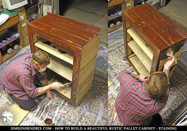 Applying Stain Pallet Cabinet From Quot How To Build A Beautiful Pallet Cabinet Tutorial Quot How To