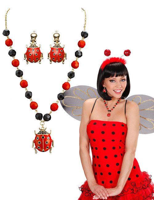Schmuck-Set Marienkäfer Halskette und Ohrringe rot-schwarz , günstige Faschings  Accessoires & Zubehör bei Karneval Megastore, der größte Karneval und Faschings Kostüm- und Partyartikel Online Shop Europas!