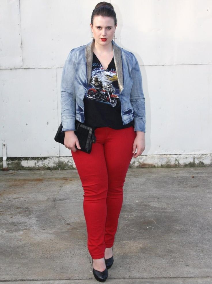 Ashley rose wearing thrifted top, jacket from 17sundays.com, Suzanne Grae jeans, wittner heels, Earing ebay, bag astuddedrosevintage
