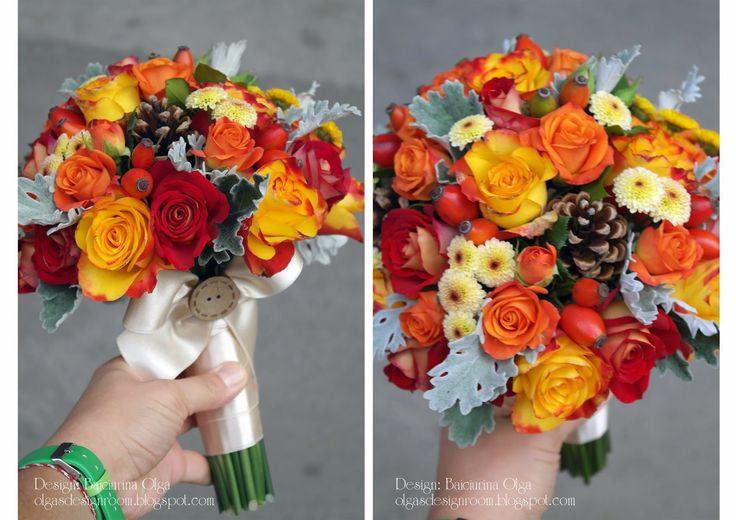 Baiciurina Olga's Design Room: Осенний букет невесты с ягодами и шишками-Fall wedding bouquet!