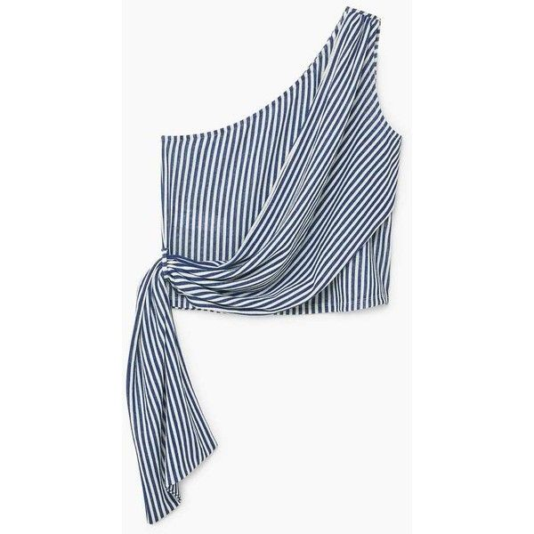 See this and similar MANGO tops - Asymmetric neckline, Striped print, Two-tone, Bow on the waist