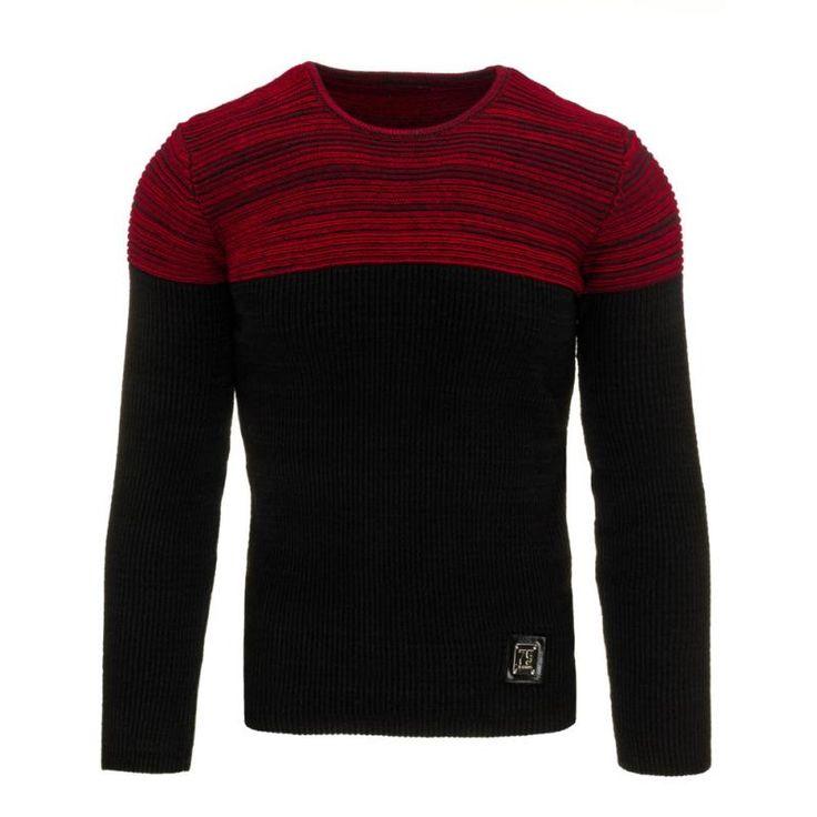 Pánský moderní svetr černo červený