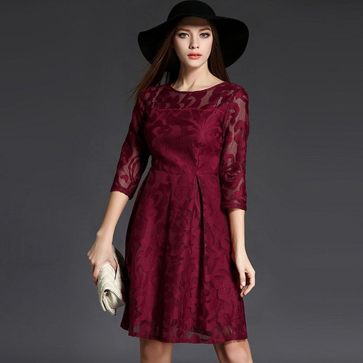 458f63660b2d 2016 autumn winter Women dresses Fashion Casual Red Lace Dress O-Neck sleeve  Evening Party Dresses Vestidos robe plus size