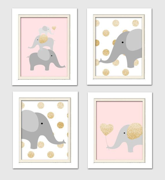 DETAILS Pink and Gold Elephant quad prints Set of 4 8x10 Prints (The frames are not included) CUSTOM COLORS ********************** If you need