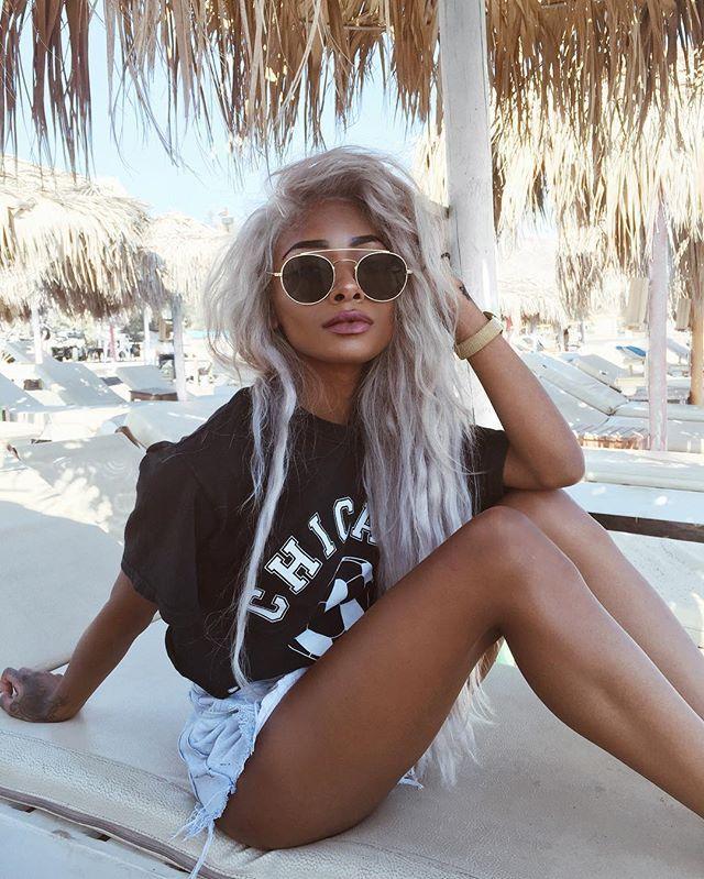 Perivolos Beach today Nyane Lebajoa #nyaneleboaja #hair #sliverhair