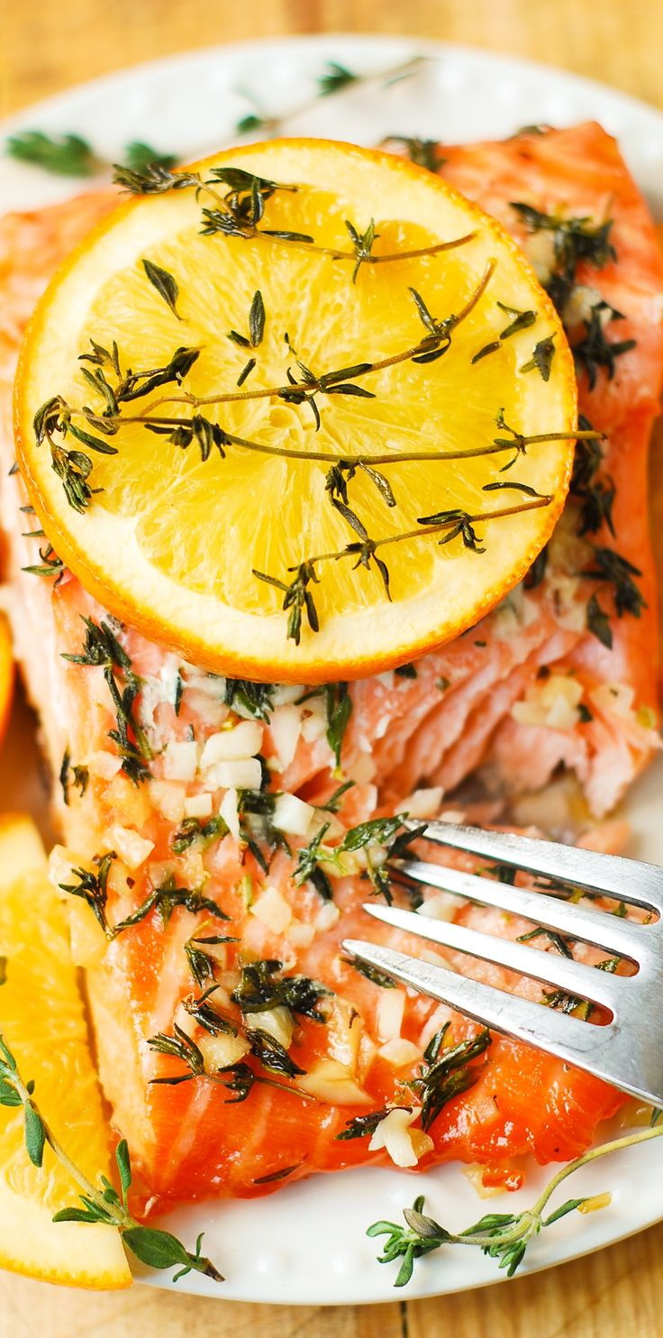 Orange Rosemary-Thyme Garlic Baked Salmon (gluten free, healthy, fish dinner recipe)