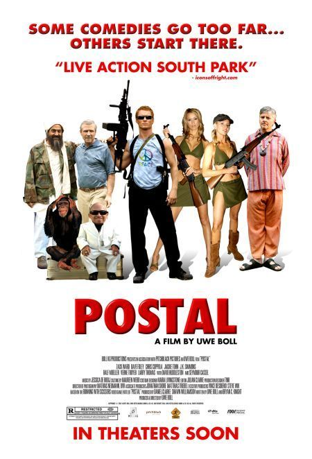 Postal , starring Dave Foley, Verne Troyer, Zack Ward, Chris Coppola. In the ironically named city of Paradise, a recently laid-off loser teams up with his cult-leading uncle to steal a peculiar bounty of riches from their local amusement park; somehow, the recently arrived Taliban have a similar focus, but a far more sinister intent. #Action #Comedy #Thriller
