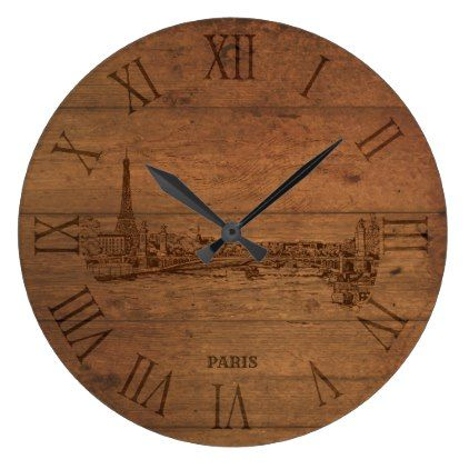 Sketched Paris city roman numerals wooden clock - retro gifts style cyo diy special idea