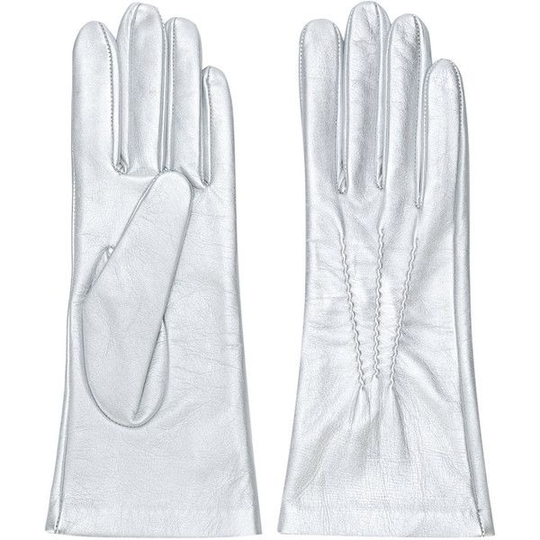 Manokhi fitted gloves (1335845 PYG) ❤ liked on Polyvore featuring accessories, gloves, metallic and metallic gloves
