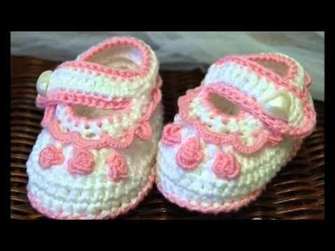 Zapatitos para bebe a crochet para bautizo - YouTube