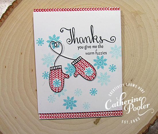 Holiday Thank you card with Holiday Mittens and Still Smiling stamp set! http://shop.catherinepooler.com/collections/catherine-pooler-designs