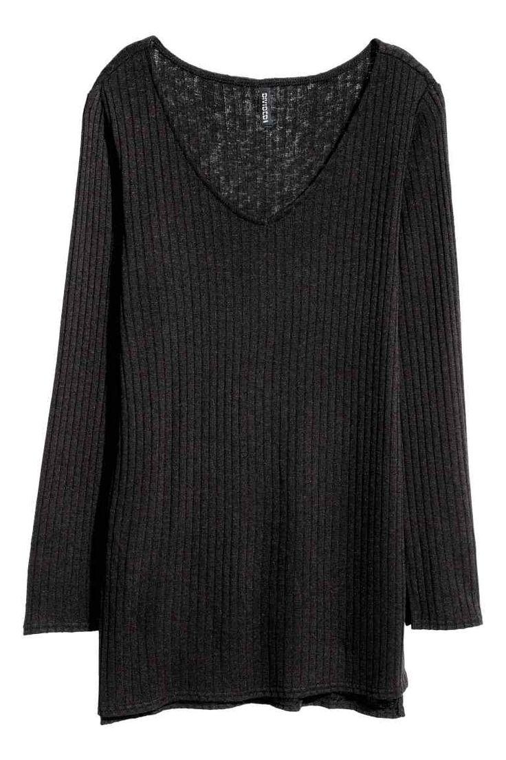 Pletený svetr s rozparky - Černá - ŽENY | H&M CZ