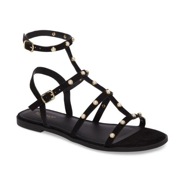 Women's Topshop Hive Pearl Gladiator Sandal (185 RON) ❤ liked on Polyvore featuring shoes, sandals, black, black gladiator sandals, studded gladiator sandals, topshop sandals, roman sandals and studded flat shoes