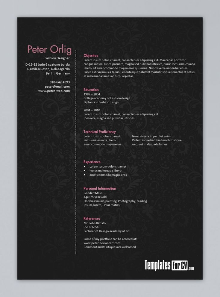 44 best Creative Resume Designs images on Pinterest Resume - how to open resume template microsoft word 2010