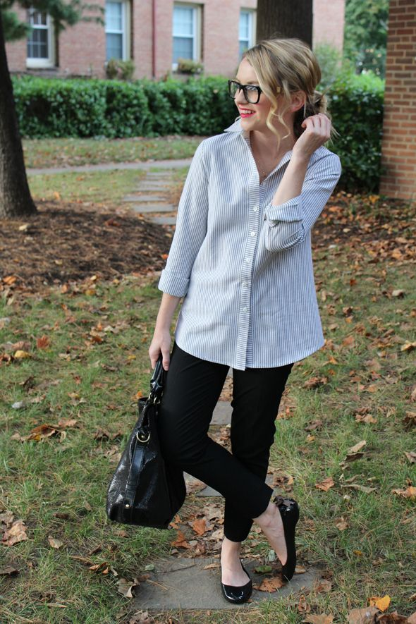 Poor Little It Girl in PopBasic Boyfriend Shirt, @Gap Black Crop Pants, OKA b. Ballet Flats and Silvano Wood Frame Glasses