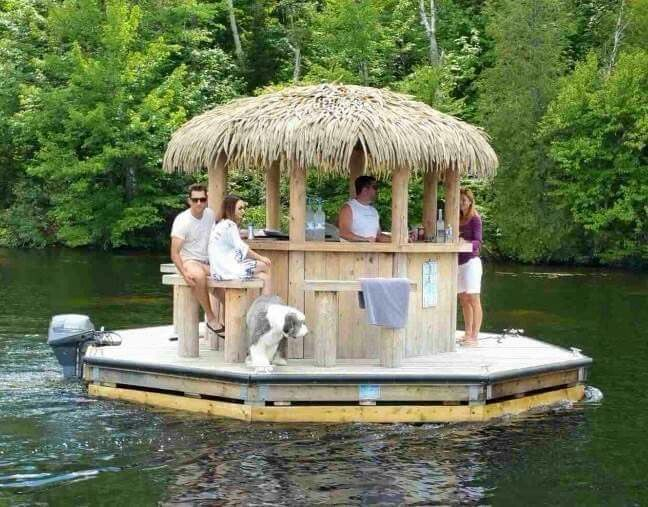 Tiki Leveled Up! Floating tiki bar, attach a boat motor for a lake @jwold48 cruise.  This would be so much fun!
