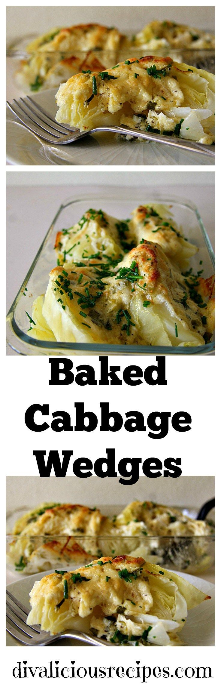 Cabbage wedges are covered with a cheese sauce and baked in the oven for a delicious cheesy cabbage casserole.  Recipe: http://divaliciousrecipes.com/2017/01/25/baked-cabbage-wedges/