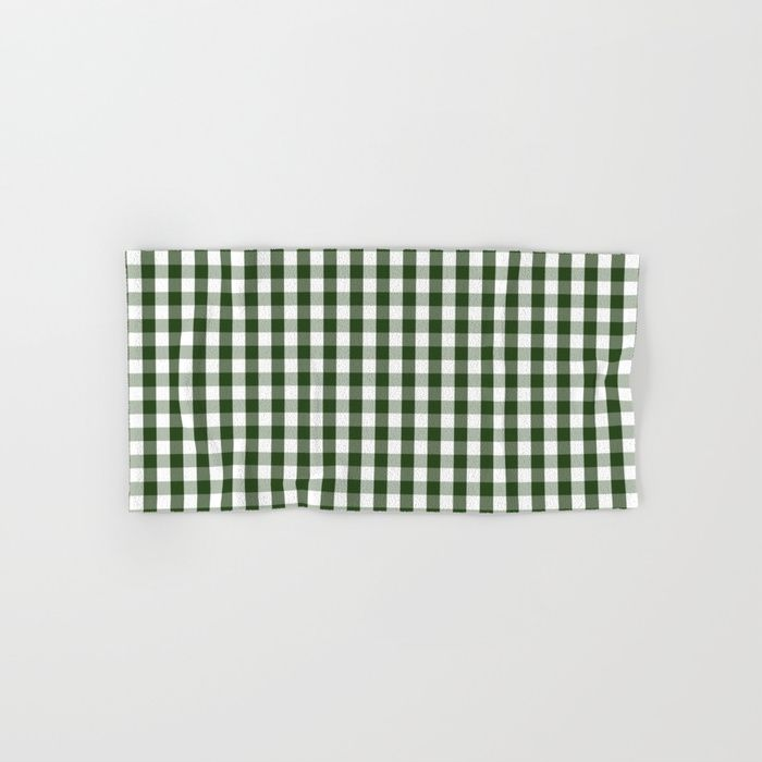 Dark Forest Green And White Gingham Check Hand Bath Towel