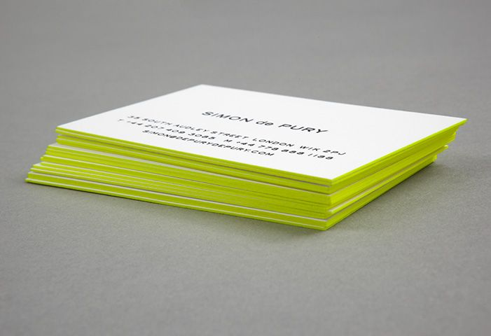 Lime green edge painted business cards designed by Studio Small for de Pury de Pury.