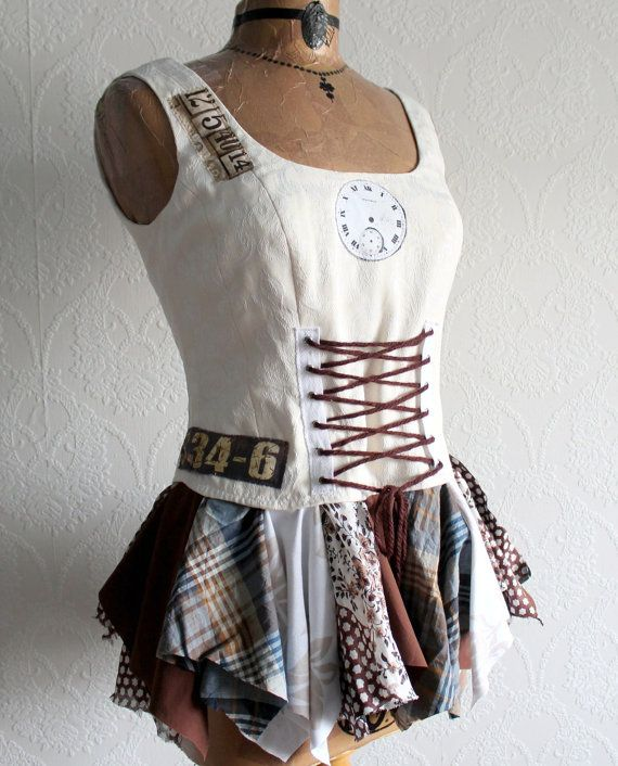 Women's Corset Top Off White Boho Chic Lace by BrokenGhostClothing