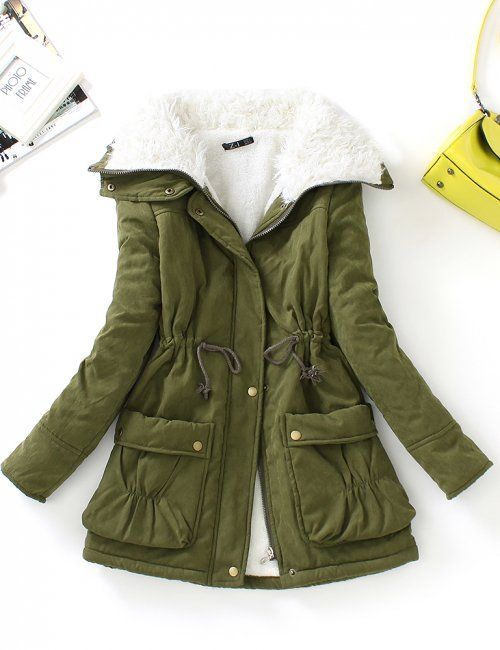 Stay warm this winter with this soft cotton collar parka. Khaki Green is the classic color for this style jacket but we have it in Pink, Tan and Blue so you can bring a bit of brightness to your winter wardrobe! | Winter jackets for women | Ladies parka jackets