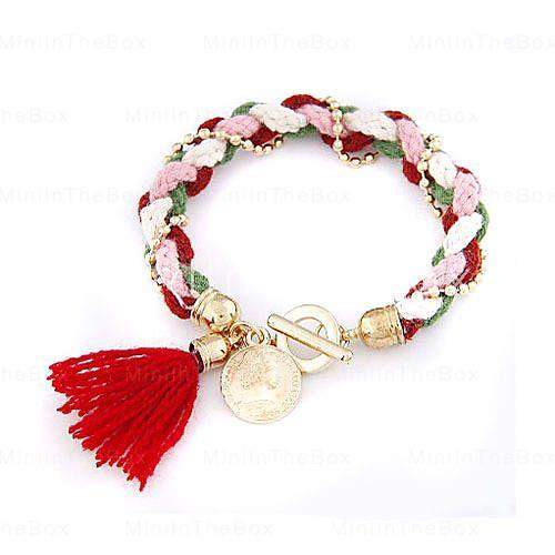 [EUR € 3.30]  - Sweety Bead Wol Gebreide Armband (verschillende kleuren)