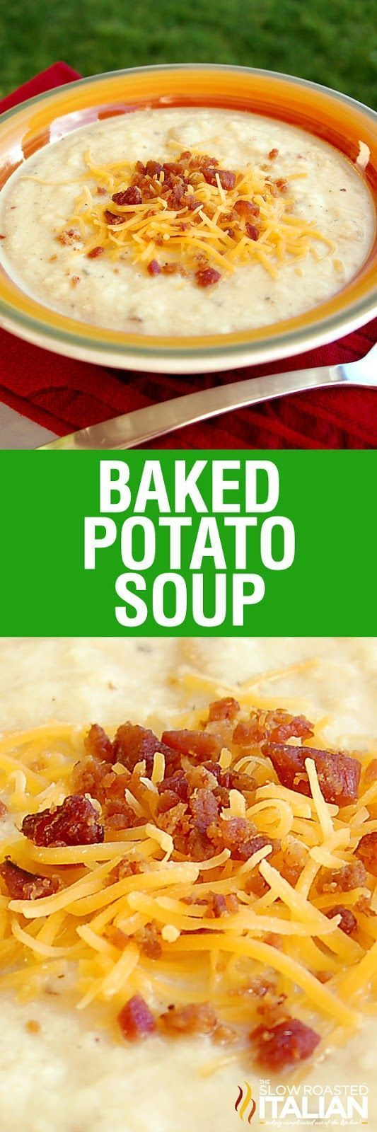 Baked Potato Soup is rich and creamy and has all your favorite potato fixin's cooked right inside this luscious soup. It comes fully loaded with cheese, bacon, and sour cream! This dinner is utterly life changing. This simple recipe is incredibly popular and you are going to love it!