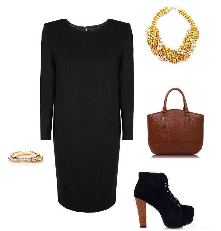 Stylizacja, czarna sukienka oversize, Caterina, Monashe, Internetowy Magazyn, www.magazyn.modadamska.waw.pl