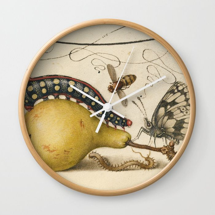 Pear Butterfly Caterpillar Wall Clock   BlueSpecsStudio + Society6