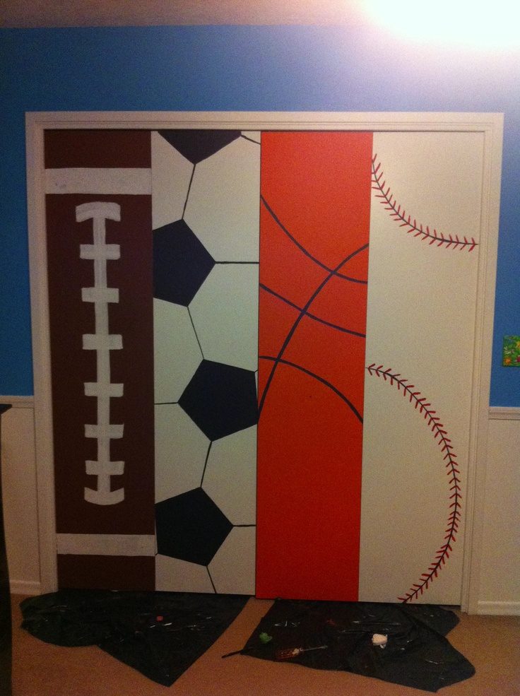 Sports themed closet doors in my little boy's room.