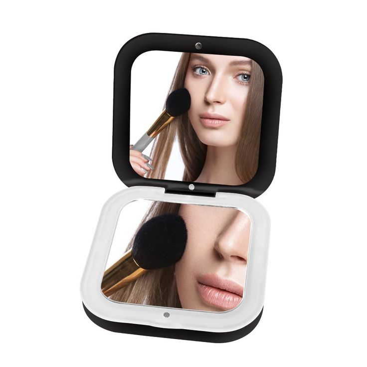 Portable Lighted Travel Makeup Mirror YALUYA Mini Compact Mobile Power  Mirrors Handheld Folding Pocket Mirror With