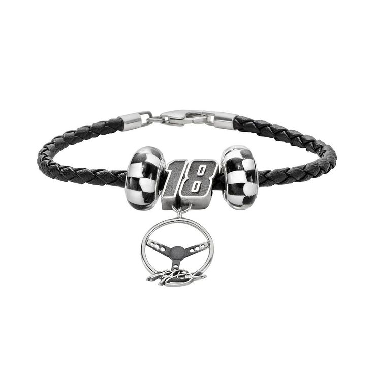 """Insignia Collection Nascar Kyle Busch Leather Bracelet and Steering Wheel Charm and Bead Set, Women's, Size: 7.5"""", Black"""
