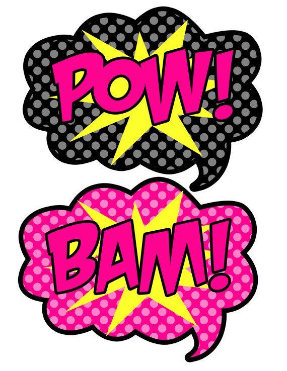 Instant Download Super Hero Pink and Black por AmandaKPrintables