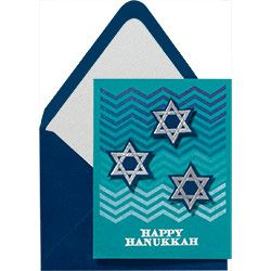 Add a personal touch to holiday cards with your favorite stamp - like these chic chevrons!  DIY Hanukkah Card