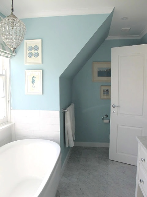 light over tub: Bathroom Colors, Bathroom Reveal, Kids Bathroom, Georgica Ponds, Paintings Colors, Bathroom Ideas, Fabulous Bathroom, Master Bathroom, Blue Bathroom