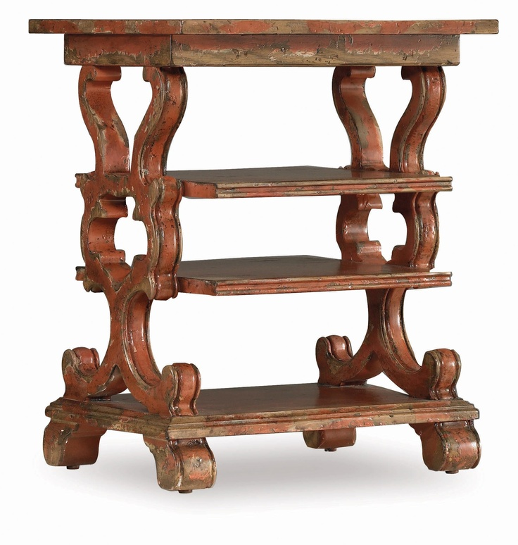 Attractive Distressed Side Table In Rustic Red With Elaborate Latticing. Product:  Accent Table Construction Material: Hardwood Solids And Ash Veneers Color:  Rustic Red ...