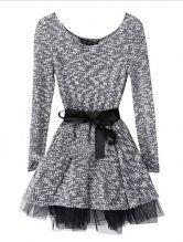 Grey Round Neck Long Sleeve Drawstring Dress