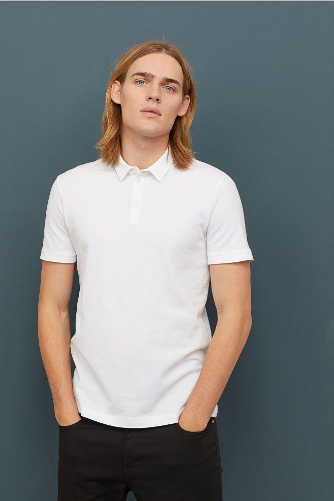 Slim Fit Polo Shirt - White - Men | H&M US | Slim fit polo shirts ...