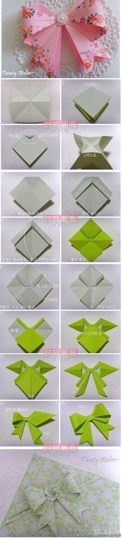 <3Bows Ties, Gift Bows, Bows Tutorials, Origami Paper, Paper Bows, Make A Bows, Gift Wraps, Origami Bows, Crafts