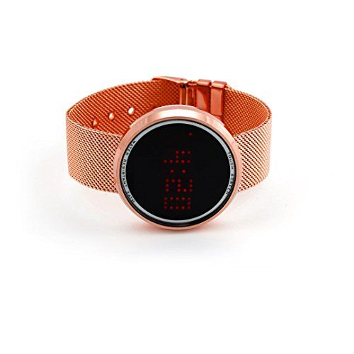 Unisex Minimal TOUCH SCREEN Modern Watch in Stainless Steel MESH Band Rose Gold Color