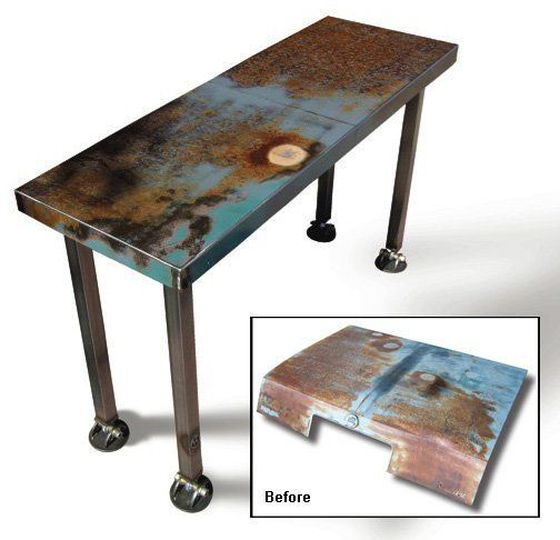 How I wish I could weld! Dallas Welder Joel Hester has turned the colorful and rusty hoods of junkyard cars into industrial yet magnificent tables which truly shine, and the most prominent parts of the table are salvaged...