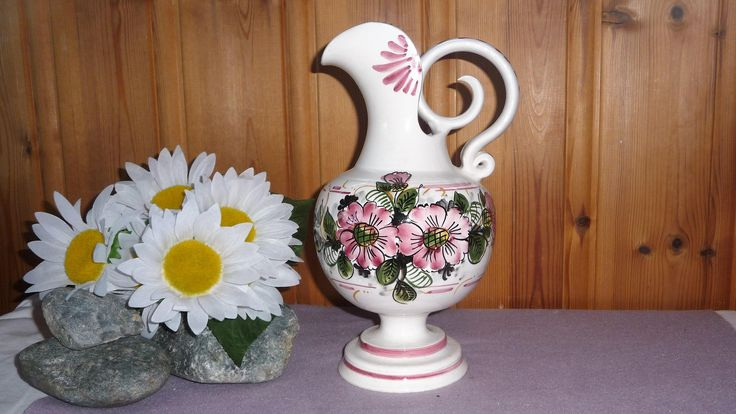 Fantastic Vintage Portuguese Ceramic Floral Pitcher Ornate Handle Portugal Pottery Vase With Handle Handled Vase Pink Flowers by Grandchildattic on Etsy