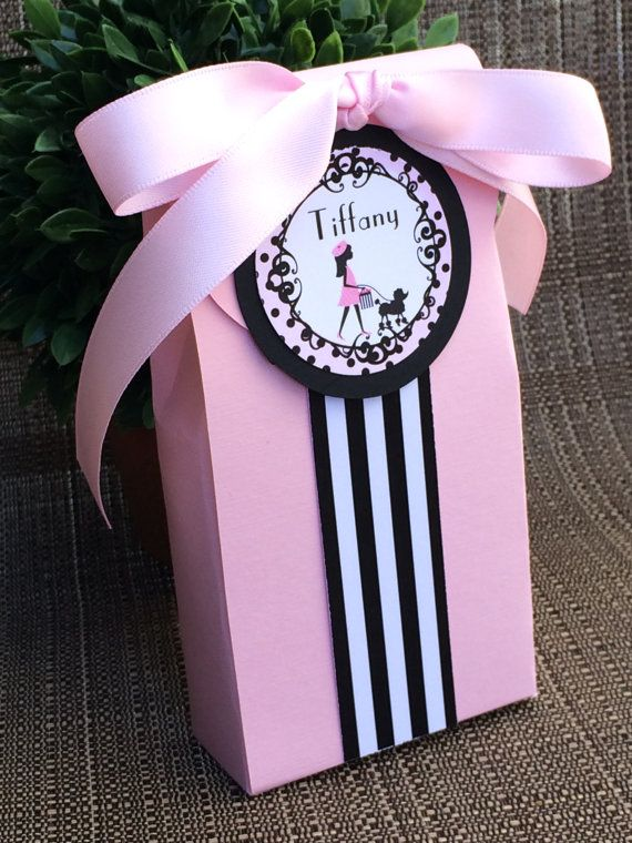 Girl in Paris Party Favor Boxes by KristinesCreationsSD on Etsy, $30.00