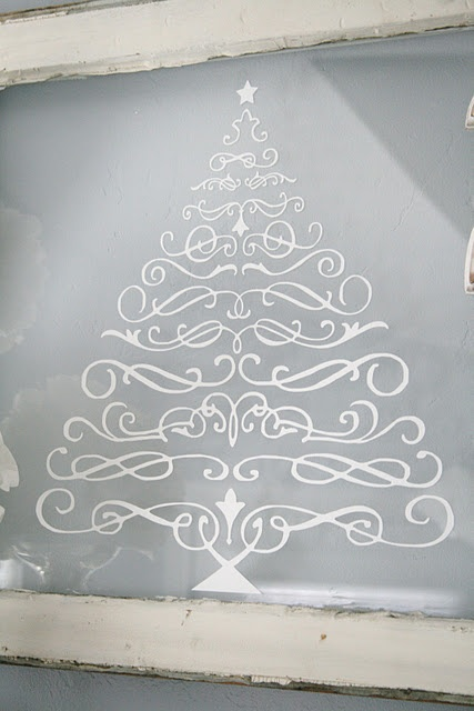 old window + scrolls + etch paint = cool christmas decoration