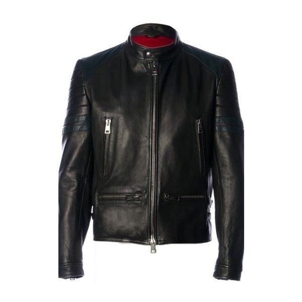 AL DUCA D'AOSTA Black Leather Biker Jacket (9.170 CZK) ❤ liked on Polyvore featuring men's fashion, men's clothing, men's outerwear, men's jackets, men, jackets, black, mens slim fit motorcycle jacket, mens slim fit biker jacket and mens jackets