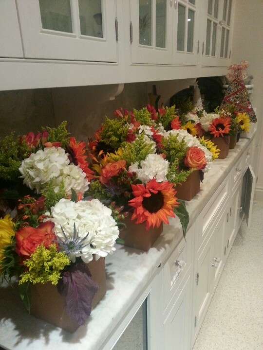Bright Fall Flower arrangments for dinner rehearsal