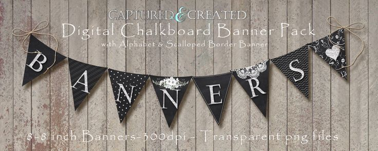 9-Digital Chalkboard Banner/Pendants by Captured and Created on @creativemarket