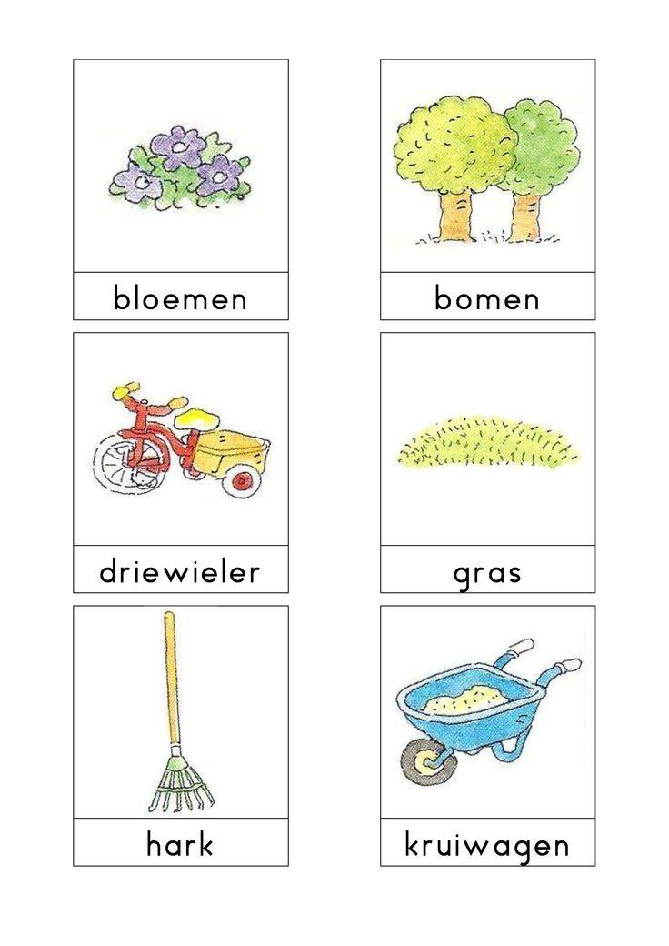 Woordkaarten Bas 'De tuin'  Alle juiste plaatjes van de woordkaarten van Bas in de juiste verhuisdoos plaatsen. Op de doos een pictogram van de bewuste lokatie