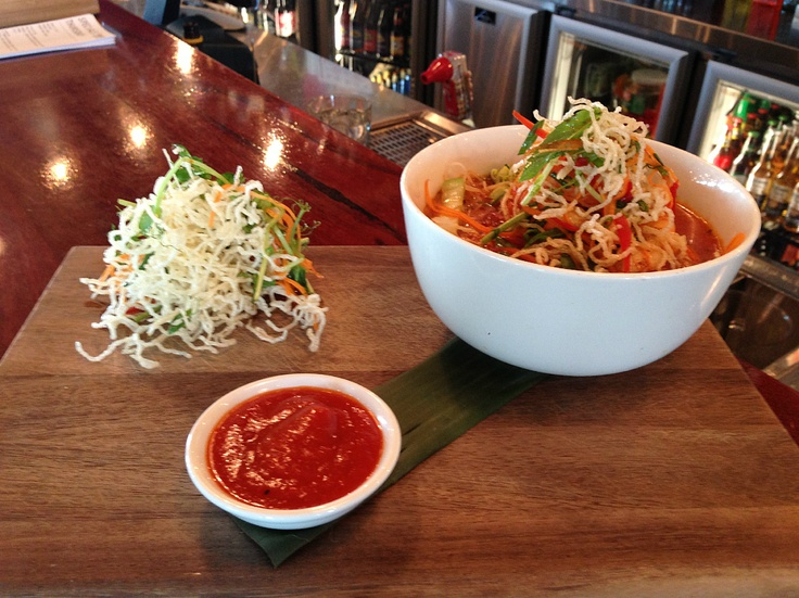 Prawn & Vegetable Laksa w/ rice noodles, Asian Salad and Chilli Jam (gluten free). Available @ The Quarie