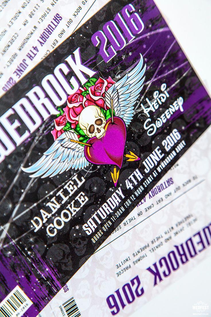 wedrock tattoo skull metal rock wedding invitations http://www.wedfest.co/rock-and-heavy-metal-influenced-wedding-table-plans/